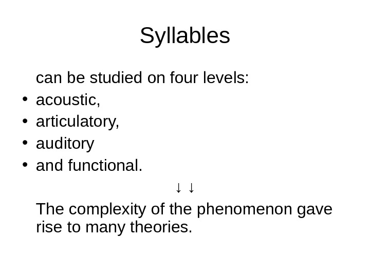 Syllables can be studied on four levels:  • acoustic,  • articulatory,  • auditory