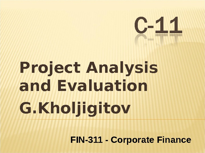 Project Analysis and Evaluation G. Kholjigitov FIN-311 - Corporate Finance