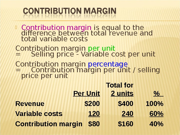 Contribution margin is equal to the difference between total revenue and total variable costs Contribution