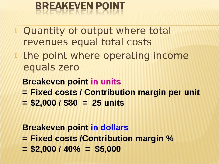 Quantity of output where total revenues equal total costs the point where operating income equals