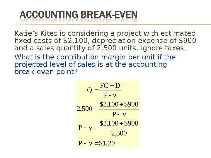 Katie's Kites is considering a project with estimated fixed costs of $2, 100, depreciation expense of