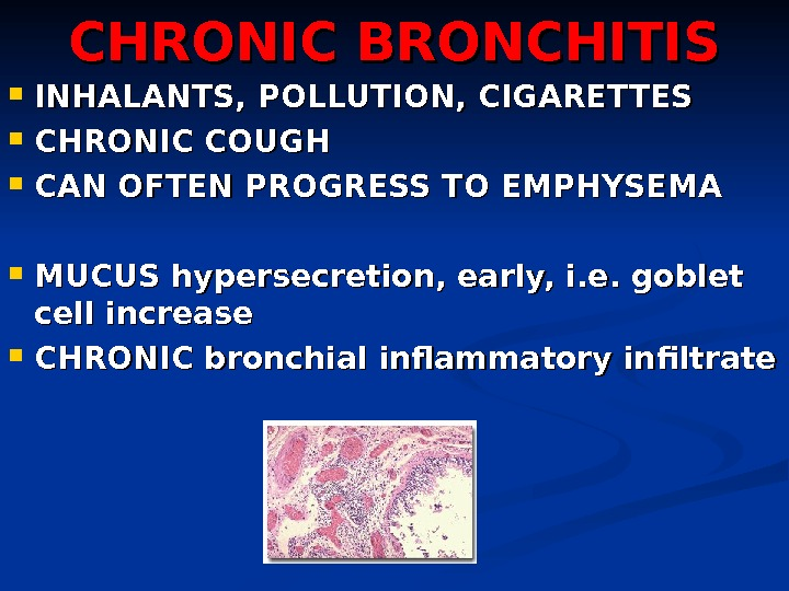 CHRONIC BRONCHITIS INHALANTS, POLLUTION, CIGARETTES CHRONIC COUGH CAN OFTEN PROGRESS TO EMPHYSEMA MUCUS hypersecretion, early, i.