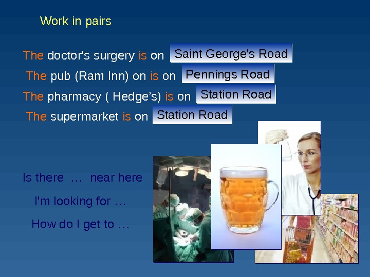 The pub ( Ram Inn) on is on …The doctor's surgery is on … The pharmacy