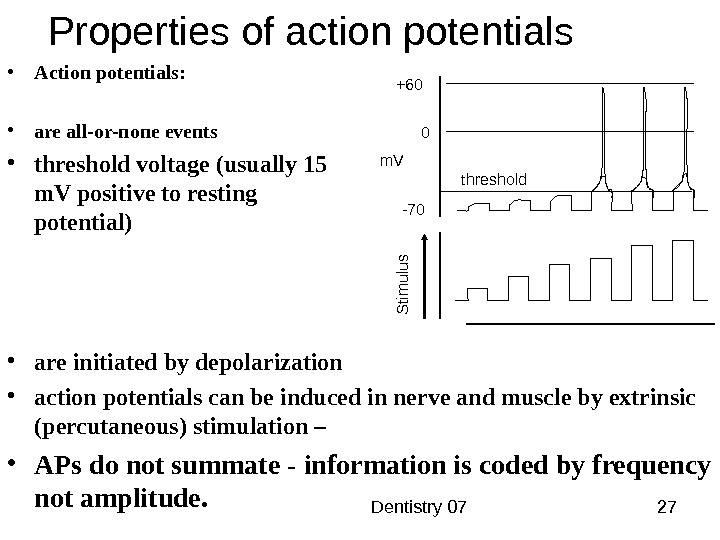Dentistry 07 27 Properties of action potentials • Action potentials:  • are all-or-none events