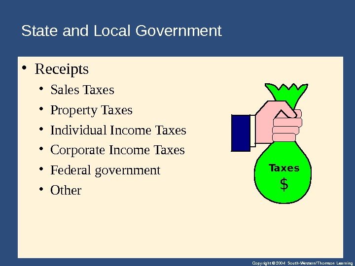 Copyright © 2004 South-Western/Thomson Learning. State and Local Government  • Receipts • Sales. Taxes •