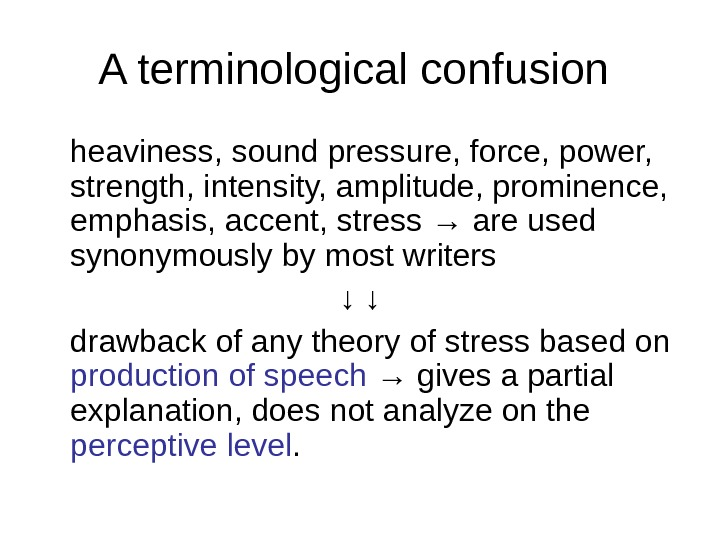 A terminological confusion heaviness, sound pressure, force, power,  strength, intensity, amplitude, prominence,
