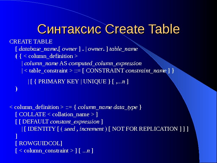 Синтаксис Create Table CREATE TABLE [ database_name. [ owner ] .  | owner.