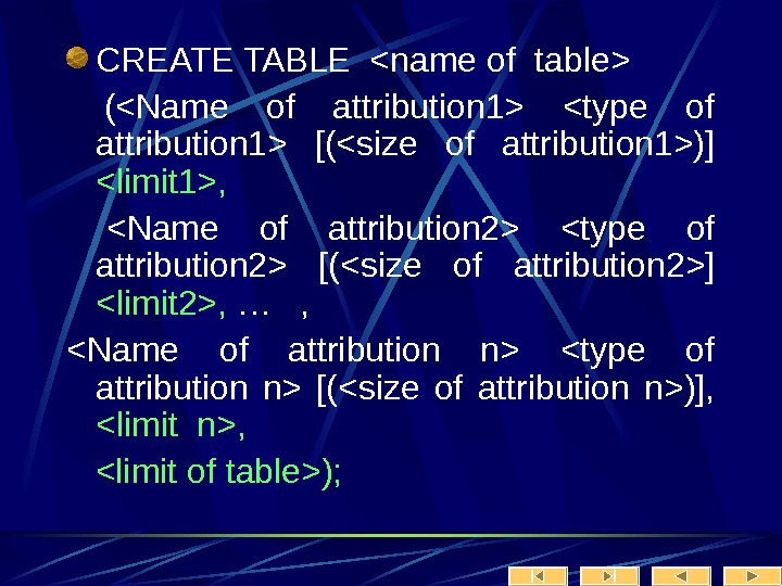 CREATE TABLE name of table  (Name of attribution 1 type of attribution 1