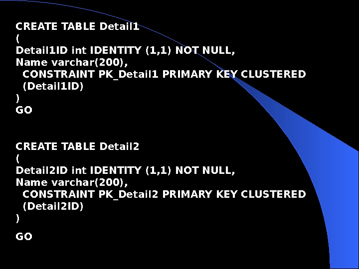 CREATE TABLE Detail 1 ( Detail 1 ID int IDENTITY (1, 1) NOT NULL, Name
