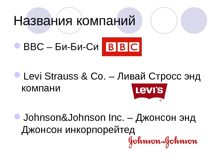 Названия компаний BBC – Би-Би-Си  Levi Strauss & Co. – Ливай Стросс энд компани Johnson&Johnson