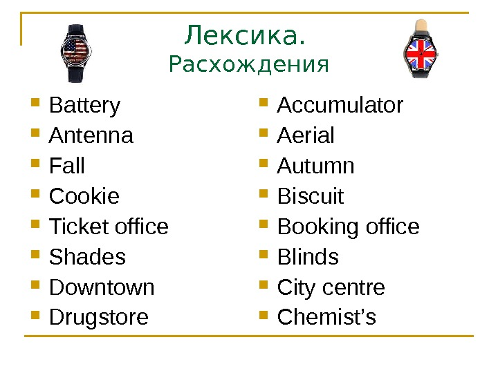 Лексика.  Расхождения Battery Antenna Fall Cookie Ticket office Shades Downtown Drugstore Accumulator Aerial Autumn Biscuit