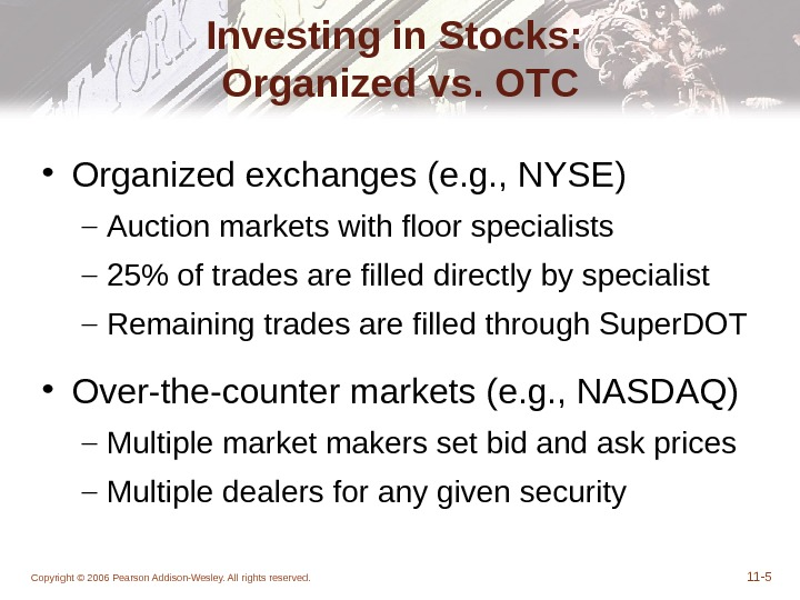 Copyright © 2006 Pearson Addison-Wesley. All rights reserved. 11 - 5 Investing in Stocks:  Organized