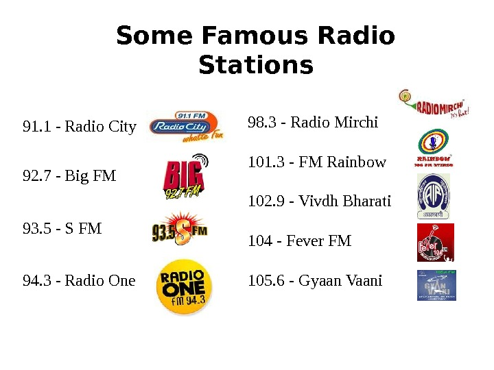 91. 1 - Radio City 92. 7 - Big FM 93. 5 - S FM 94.
