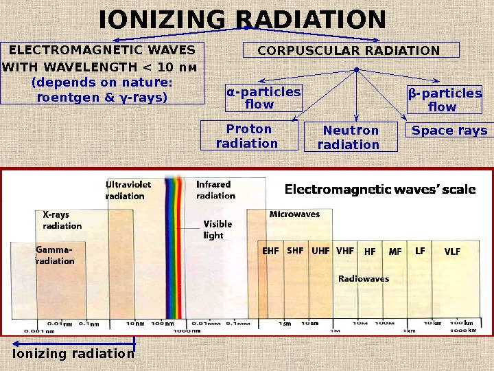 IONIZING RADIATION ELECTROMAGNETIC WAVES WITH WAVELENGTH  10 n м  ( depends on nature :