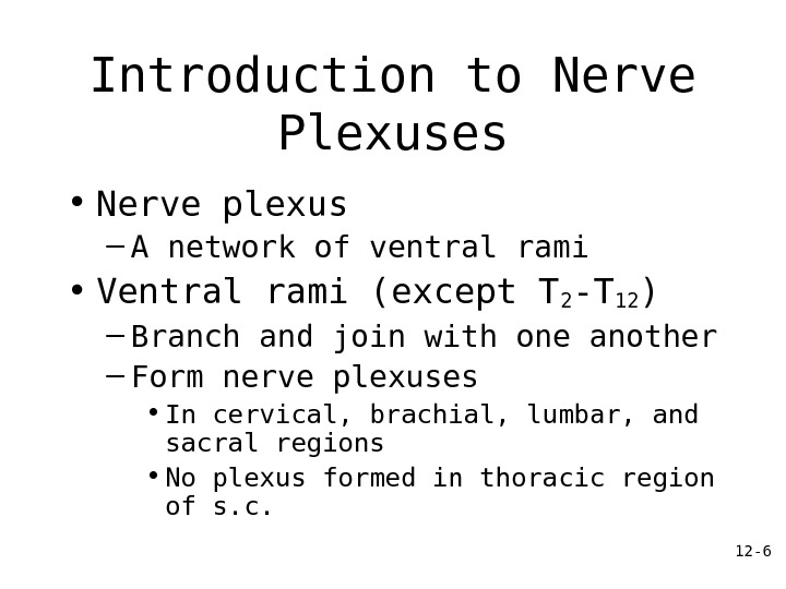 12 - 6 Introduction to Nerve Plexuses • Nerve plexus – A network of ventral rami
