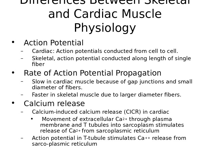 Differences Between Skeletal and Cardiac Muscle Physiology • Action Potential – Cardiac: Action potentials conducted from