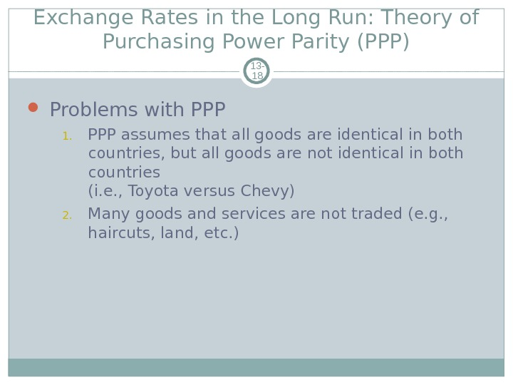 Exchange Rates in the Long Run: Theory of Purchasing Power Parity (PPP) 13 - 18 Problems