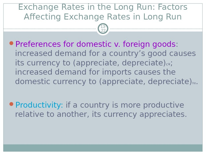 Exchange Rates in the Long Run: Factors Affecting Exchange Rates in Long Run 13 - 22