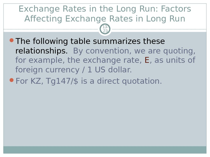 Exchange Rates in the Long Run: Factors Affecting Exchange Rates in Long Run 13 - 23