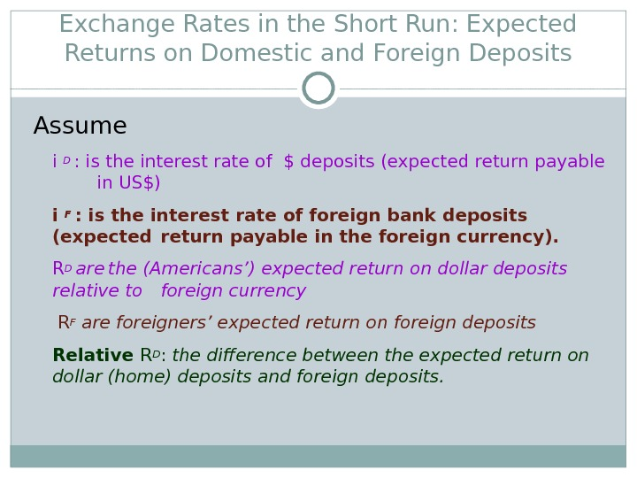Exchange Rates in the Short Run: Expected Returns on Domestic and Foreign Deposits Assume i D
