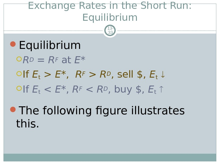Exchange Rates in the Short Run:  Equilibrium 13 - 33 Equilibrium RD = RF at