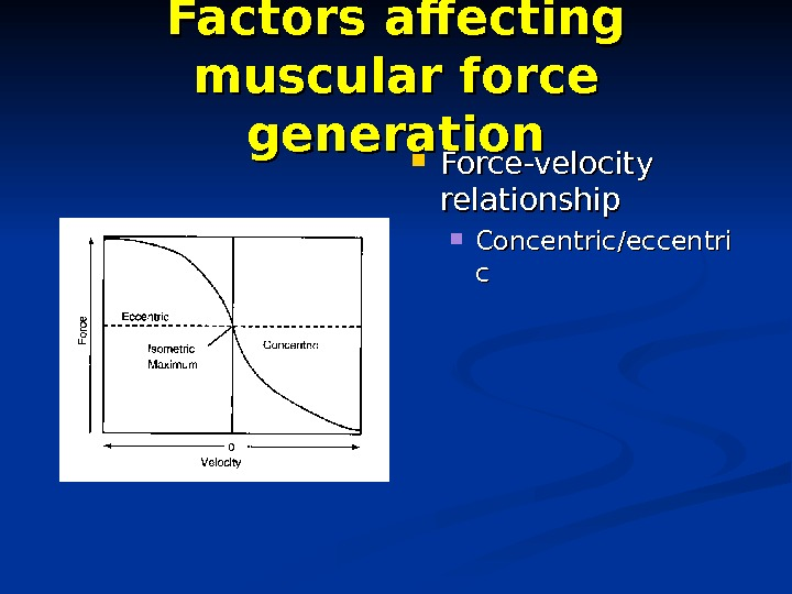 Factors affecting muscular force generation Force-velocity relationship Concentric/eccentri cc