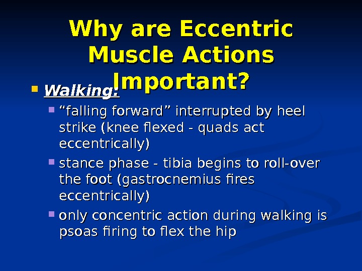 "Why are Eccentric Muscle Actions Important?  Walking:  """" falling forward"" interrupted by heel strike"