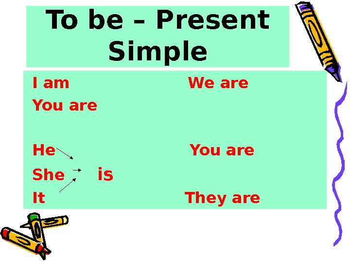 To be – Present Simple  I am     We are