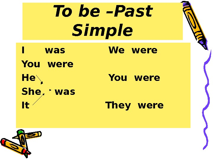 To be – Past Simple  I was   We were  You