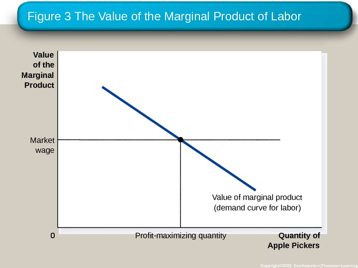 Figure 3 The Value of the Marginal Product of Labor Copyright© 2003 Southwestern/Thomson Learning 0 Quantity