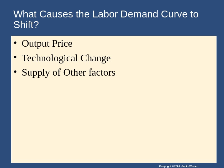 Copyright © 2004 South-Western. What Causes the Labor Demand Curve to Shift?  • Output Price