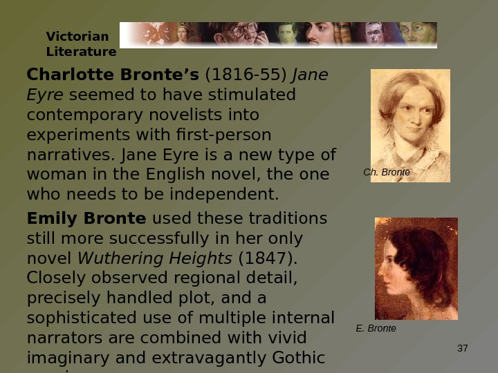 Charlotte Bronte's (1816 -55) Jane Eyre seemed to have stimulated contemporary novelists into experiments with first-person