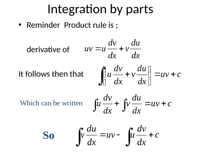 Integration by parts • Reminder Product rule is ;  derivative of It follows then thatdx