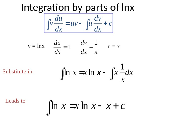 Integration by parts of lnxc dx dv uuv dx du v dx x xxxx  1