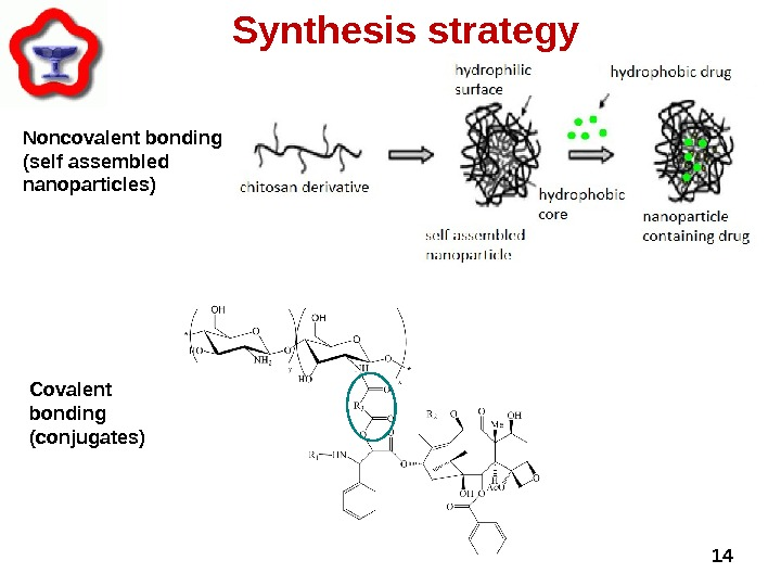 Noncovalent bonding (self assembled nanoparticles) Synthesis strategy 14 Covalent bonding (conjugates)