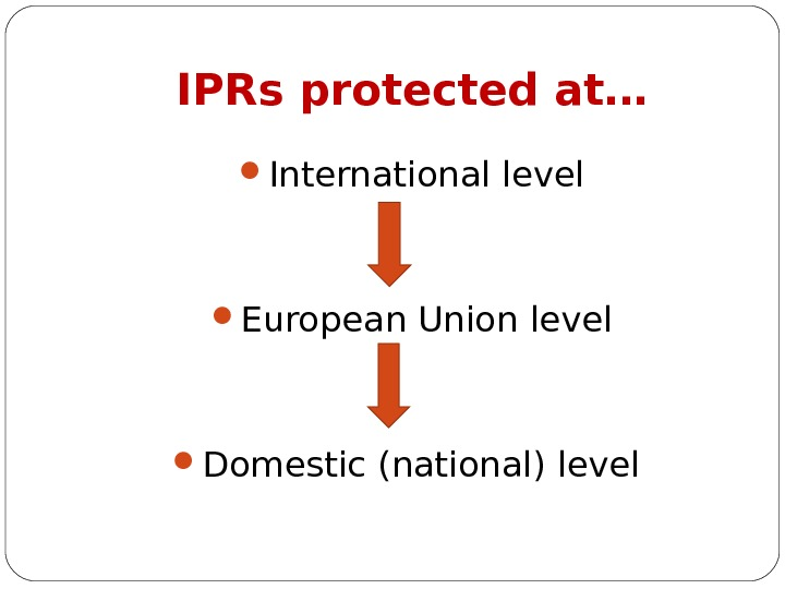 IPRs protected at… International level European Union level Domestic (national) level