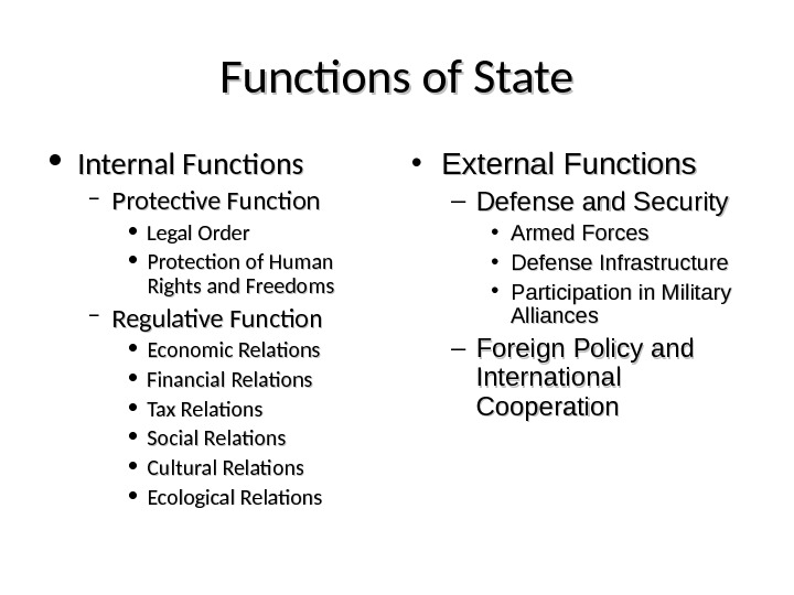 Functions of State • Internal Functions – Protective Function • Legal Order • Protection