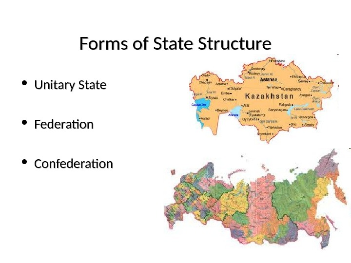 Forms of State Structure • Unitary State • Federation • Confederation