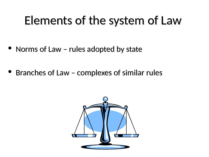 Elements of the system of Law  • Norms of Law – rules adopted