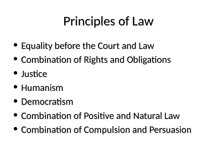 Principles of Law • Equality before the Court and Law • Combination of Rights