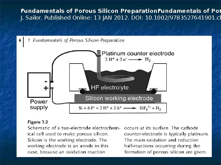 04/01/16 7 Fundamentals of Porous Silicon Preparation. Prof. Dr. Michael J. Sailor. Published Online: 13 JAN