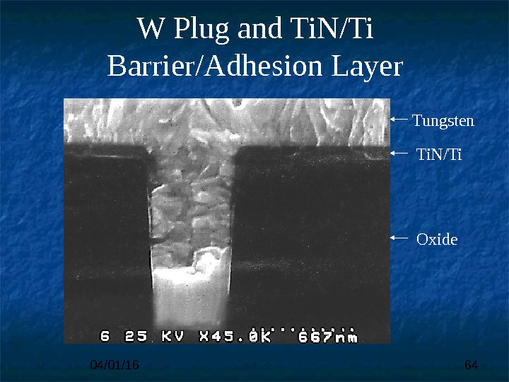 04/01/16 64 Tungsten Ti. N/Ti Oxide. W Plug and Ti. N/Ti Barrier/Adhesion Layer