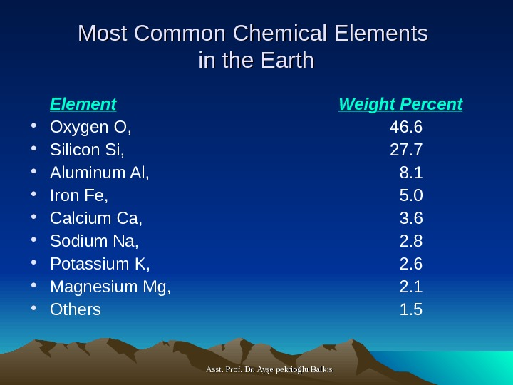 Asst. Prof. Dr. Ayşe pekrioğlu Balkıs. Most Common Chemical Elements in the Earth Element