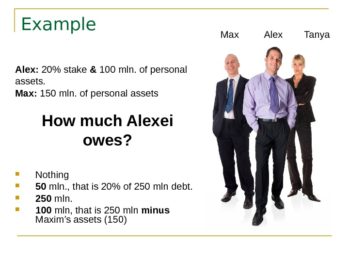 Example Alex:  20 stake & 100 mln. of personal assets.  Max: