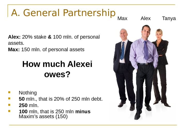A. General Partnership Alex:  20 stake & 100 mln. of personal assets.