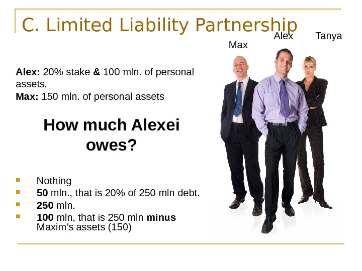 C. Limited Liability Partnership Alex:  20 stake & 100 mln. of personal assets.