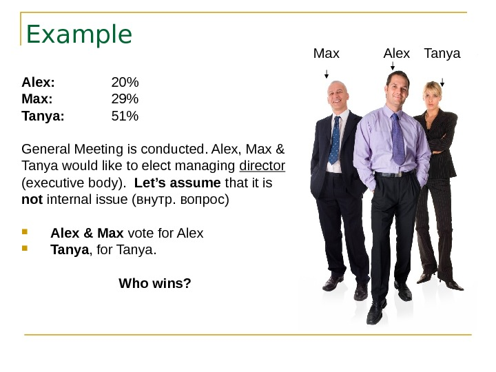 Example Alex: 20 Max: 29 Tanya: 51 General Meeting is conducted. Alex, Max &