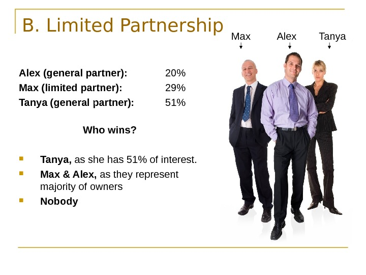 B. Limited Partnership Alex (general partner): 20 Max (limited partner): 29 Tanya (general partner):
