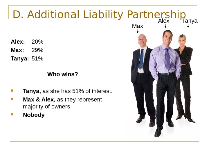 D. Additional Liability Partnership Alex: 20 Max: 29 Tanya: 51 Who wins?  Tanya,
