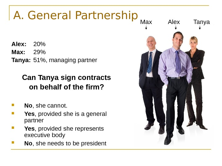 A. General Partnership Alex: 20 Max: 29 Tanya: 51, managing partner Can Tanya sign